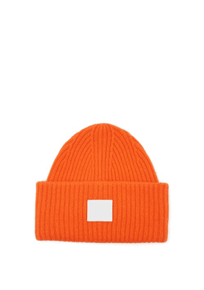 Acne Studios - Pansy Face Patch Wool Beanie Hat - Mens - Orange