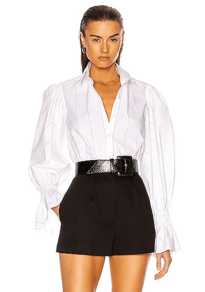 ALAÏA Cotton Poplin Perforated Top in Blanc - White. Size 42 (also in 40).