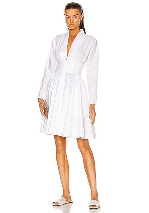 ALAÏA Cotton Poplin Perforated Dress in Blanc - White. Size 42 (also in ).