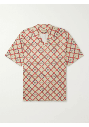 Gucci - Oversized Camp-Collar Printed Paper-Effect Crinkled-Shell Shirt - Men - Neutrals - IT 48