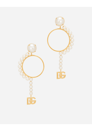 Dolce & Gabbana Bijoux - Hoop earrings with DG logo and pearls Gold female OneSize