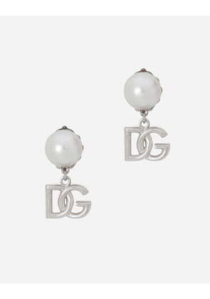 Dolce & Gabbana Bijoux - Drop earrings with pearls and DG logo Silver female OneSize