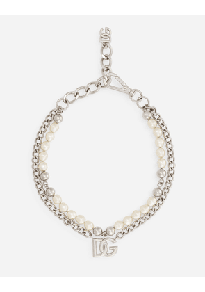 Dolce & Gabbana Bijoux - Necklace with metal chains, pearls and DG logo Silver female OneSize