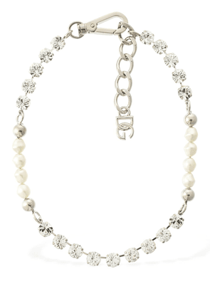 Imitation Pearl & Crystal Chain Necklace