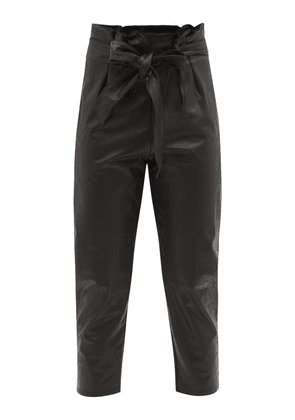 Commando - Paperbag-waist Faux-leather Trousers - Womens - Black