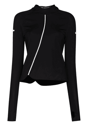 Off-White panelled hooded long-sleeve jersey - Black