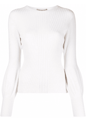 D.Exterior ribbed-knit crewneck sweater - White