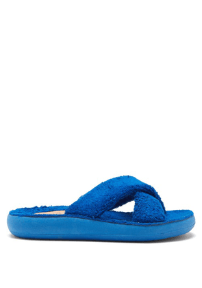 Ancient Greek Sandals - Thais Crossover-strap Terry Slides - Womens - Blue