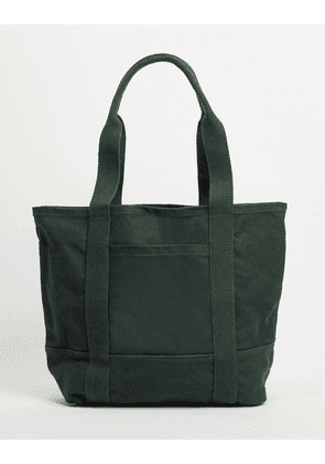 ASOS DESIGN oversized heavyweight organic cotton tote bag in forest green with grab and shoulder handle