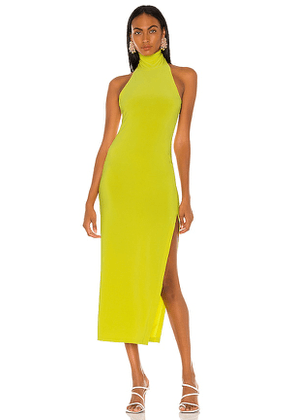 Norma Kamali Halter Turtle Side Slit Gown in Green. Size M, S, XS.
