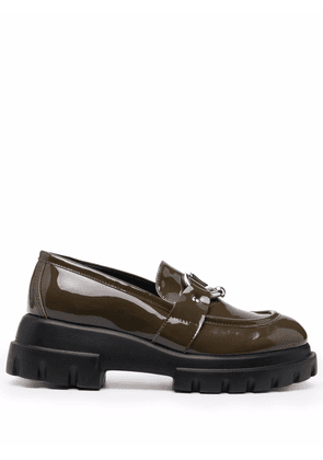 AGL Monique patent leather loafers - Green