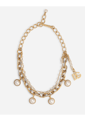 Dolce & Gabbana Bijoux - Double-chain necklace with pearl charms Multicolor female OneSize