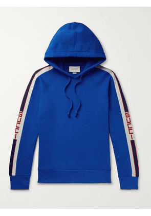 Gucci - Webbing-Trimmed Loopback Cotton-Jersey Hoodie - Men - Blue - XS
