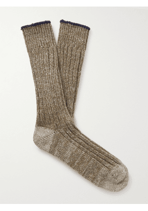 Anonymous ism - Ribbed Cotton Socks - Men - Neutrals
