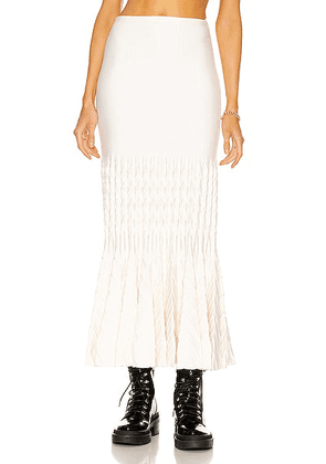 ALAÏA Fit and Flare Maxi Skirt in Ivoire - Ivory. Size 38 (also in ).