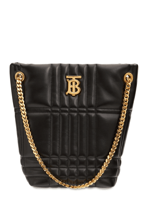Small Lola Quilted Leather Bucket Bag