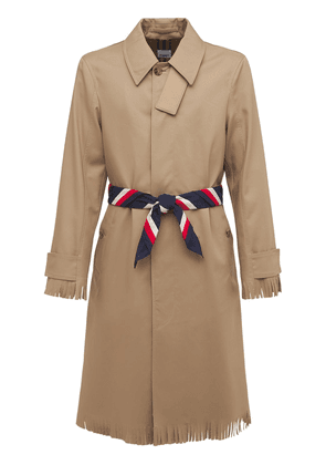 Cotton Trench Coat W/ Printed Belt