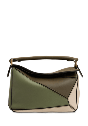 Small Puzzle Leather Top Handle Bag