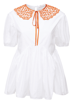 Mie Cotton Top W/embroidered Collar
