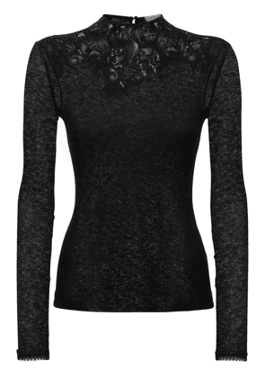 Lace Embroidered Knit Turtleneck Sweater