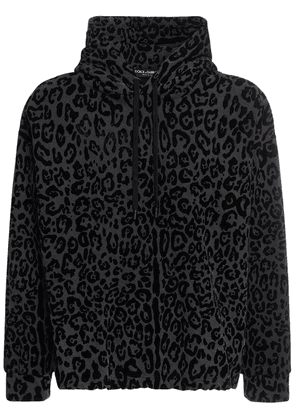 All Over Leo Print Cotton Jersey Hoodie