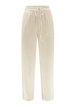 Co - Drawstring Crepe Wide-leg Trousers - Womens - Ivory