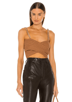AMUR Cable Knit Crop Top in Tan. Size L.