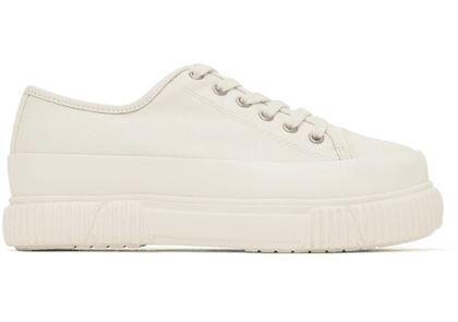 both White Classic Platform Low Sneakers