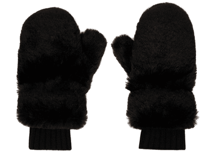 Givenchy Black Faux-Fur Mittens