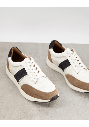 Dune side stripe trainers in white leather mix