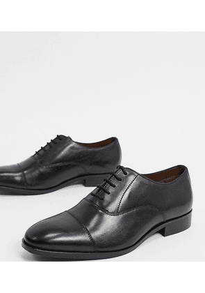 Dune wide fit salter lace up shoes in black leather