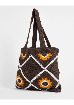 ASOS DESIGN co-ord knitted tote bag with 70's retro design-Brown