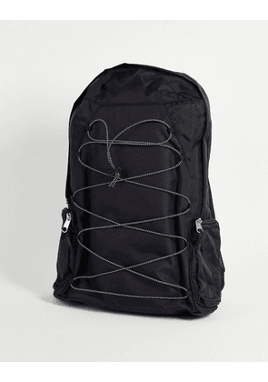 ASOS DESIGN backpack with bungee cords in black nylon