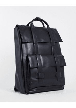 ASOS DESIGN backpack with double straps in black faux leather