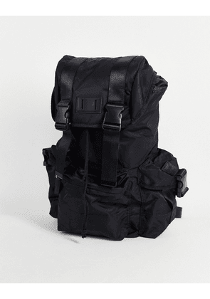 ASOS DESIGN backpack with multi compartments in black nylon