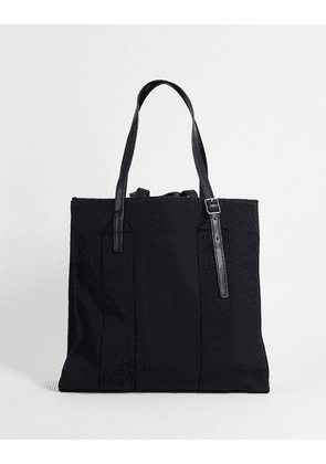ASOS DESIGN heavyweight canvas tote bag with internal compartments and double strap-Black