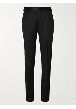 TOM FORD - Black Slim-Fit Satin-Trimmed Wool and Mohair-Blend Tuxedo Trousers - Men - Black - IT 54