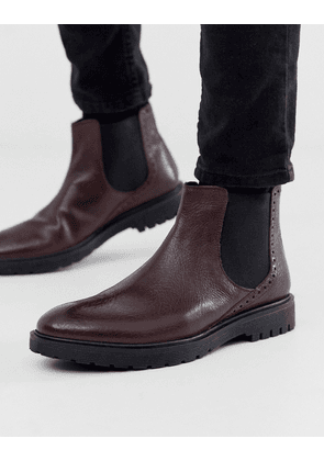Dune leather chunky chelsea boot in oxblood-Red