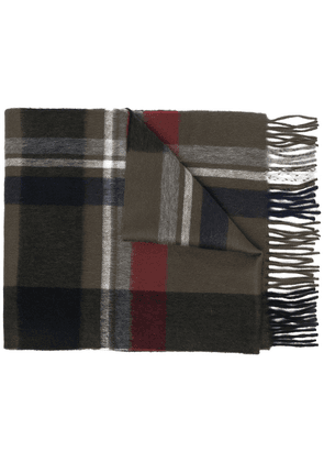 Begg & Co check wool scarf - Green