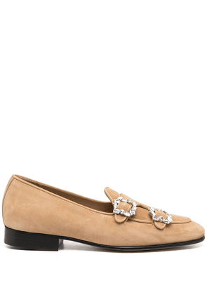 Edhen Milano crystal buckle loafers - Brown
