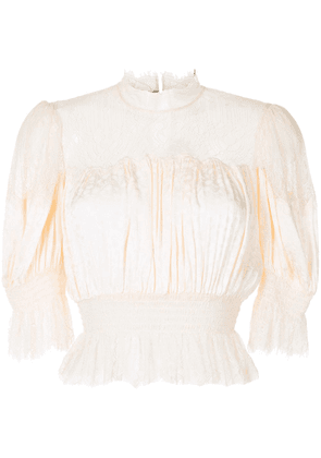 Alice McCall ruffled round neck blouse - Neutrals