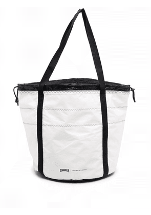 Camper top-stitched drawstring tote - White