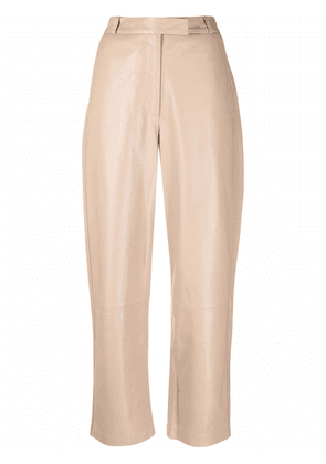Frenken Blocked leather high-waisted trousers - Neutrals