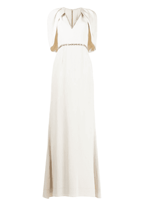 Jenny Packham crystal-trim cape-style gown - White