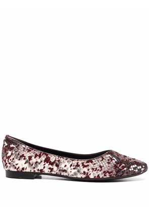 AGL snakeskin-effect leather ballerina shoes - Red