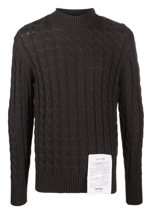 Ballantyne logo-patch cable-knit jumper - Brown