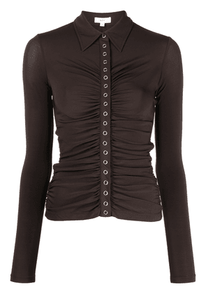 A.L.C. ruched button-up longsleeved top - Brown
