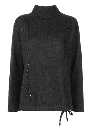 Akris perforated high-neck cashmere jumper - Grey