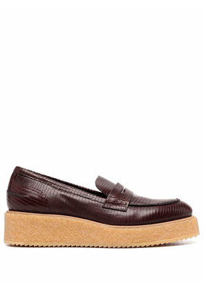 Del Carlo lizard skin effect wedged loafers - Red