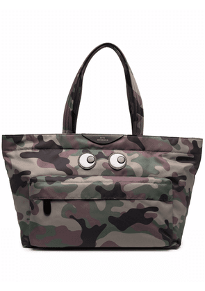 Anya Hindmarch Eyes logo-patch camouflage-print tote bag - Green